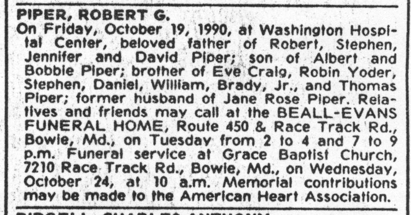 Piper, Robert G, obituary - 001